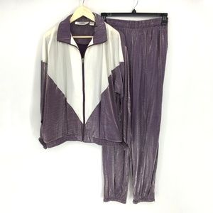 Vintage 90s Colorblock Metallic Nylon Track Suit